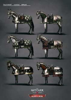 r Set, Marta Dettlaff : Horse armor set for The Witcher Blood and Wine expansion pack. Knight On Horse, Horse Armor, Knight Art, Knight Drawing, Jedi Armor, Batman Armor, Witcher Art, The Witcher, Medieval Horse