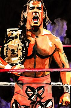 """Shawn Michaels - Ink and watercolor on 12"""" x 18"""" watercolor paper"""