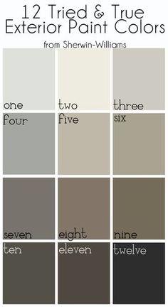 Exterior Paint Colors: One: Nebulous White Two: Alabaster Three: Repose Gray Four: Gray Matters Five: Amazing Gray Six: Intellectual Gray Seven: Gauntlet Gray Eight: Foothills Nine: Brainstorm Bronze Ten: Urbane Bronze Eleven: Black Fox Twelve: Tricorn Black