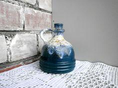 Vintage FAT LAVA vase, blue white jug, old Germany vase by VEB Haldensleben, Mid…