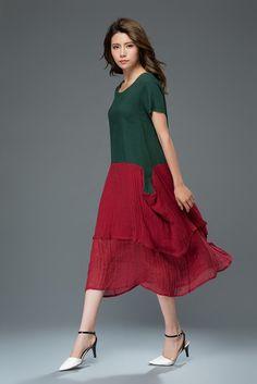 Linen dress midi dress women's dress  C924