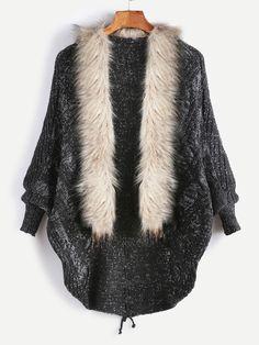 Black Faux Fur Collar Lace Up Back Sweater Coat — 0.00 € --------color: Black size: one-size