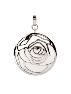 """Two face pendant """"Naveen"""" by Sofia Bobone: one side featuring white aventurine shimmering through a rose motif, the other a cabochon polished white aventurine."""