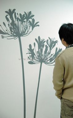 Items similar to Big agapanthus flowers----Removable Graphic Art wall decals stickers home decor on Etsy Wall Stickers Window, Flower Wall Stickers, Dandelion Art, White Dandelion, Stencil Vinyl, Flower Silhouette, Wall Murals, Wall Art, Photo Mural
