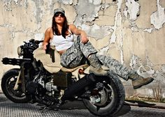 Goldwing Motorcycle w Gatling Guns - Lady Biker, Biker Girl, Moto Biker, Biker Boots, Chicks On Bikes, Motorbike Girl, Motorcycle Girls, Hot Rides, Biker Chick
