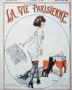 Chéri Hérouard (1881 – 1961). La Vie Parisienne, 8 Juillet 1922. [Pinned 1-viii-2020] Vintage French Posters, Vintage Artwork, Vintage Ads, Art Deco Illustration, French Illustration, Vintage Illustrations, Magazin Covers, Black Cat Art, Retro Mode
