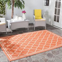 Indoor/ Outdoor Patio Courtyard Terracotta Bone Rug (4' Square) RV's Campers  #SafaviehsCourtyardCollection #Contemporary