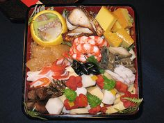 Today's lecture was on Japanese New Years cuisine, known as ''Shougatsu Ryouri''or sometimes as ''O-Sechi Ryouri''. It is usually eaten over the course of 3-days, so it typically consisted mostly of salted, preserved and pickled foods so as to not go Awesome Restaurant Recipes.Go to  http://search-for.net/recipes link to see what I found.
