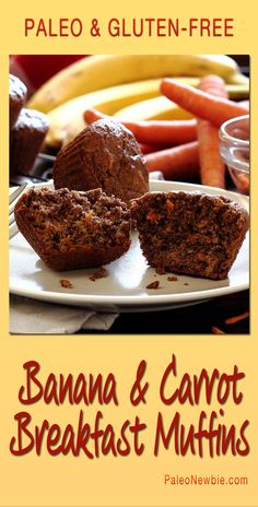 Super easy muffins featuring fresh grated carrots, mashed bananas, and raw honey. Deliciously moist and naturally awesome…go ahead, have another one! #paleo #glutenfree