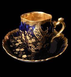 Limoges gilded, cobalt, jeweled cabinet demitasse set