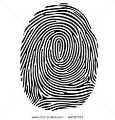 Vector black isolated fingerprint on white background - stock vector