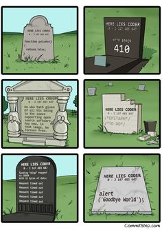 Coder epitaphs. I wonder if my wife would let me get away with any of these...