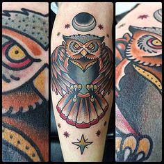 purveyor of old school traditional tattoos Bad Tattoos, Cool Tattoos, Tattoo Owl, Tatoos, Neo Traditional Tattoo, American Traditional, Owl Tat, Old Scool, Sugar Skull Tattoos