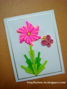 Lin Handmade Greetings Card: Combing two tone flowers