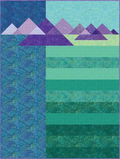 Turk Mountain quilt pattern at Creative Sewlutions. A combination of piecing techniques makes this mountain range, inspired by a view from Turk Mountain in Shenandoah National Park, fun and just a bit challenging.  Make just the mountain range and border it for a wallhanging.