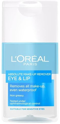 L'Oreal De-maq expert Absolute Eye & Lip Make-up Remover, 125ml Best Makeup Remover, Eye Lip, Sensitive Eyes, Make Up Remover, Loreal Paris, How To Remove, How To Make, Lips