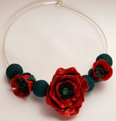 Polymer poppies clay necklace