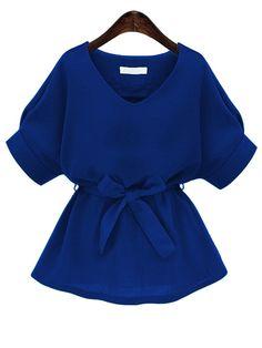 Royal Blue V Neck Self Tie Blouse
