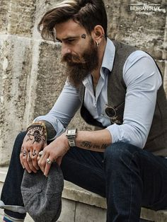 Bearded guy with a rather decent watch More at www.roguerefined.com #men #guys #fashion #mensfashion #style #lifestyle #menstyle #mensstyle #ootd #menswear #classy #fashionblogger #leather #shopping #follow #photooftheday #instagood