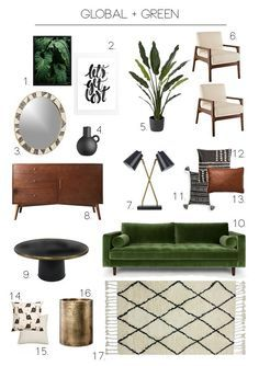 Living Room Green, Boho Living Room, Living Room Sofa, Green Family Rooms, Living Spaces, Bohemian Living, Small Living, Design Lounge, Green Sofa Design