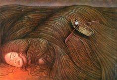 surrealism woman dreaming row boat in hair beautiful painting art