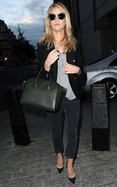 Rosie Huntington-Whiteley wearing BALMAIN BLACK SILVER-BUTTONED DOUBLE-BREASTED BLAZER GIVENCHY Medium Antigona Duffel in Bottle Green MIU MIU Metal Mix Cateye Grey Glitter Sunglasses AG Adriano Goldschmied The Beau Cord Pants in Sulfur Dark Charcoal JENNIFER FISHER Brass Reverse Choker Christian Louboutin So Kate pumps in Bleu