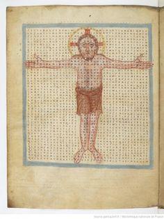 De Laudibus Sanctae Crucis, par Raban Maur, vers 831BnF, ms. lat. 2423 f°14- RABAN MAUR, 1) BIOGRAPHIE, 6) Raban Maur meurt le 4 février 856 à Winkel im Rheingau, en Hesse.