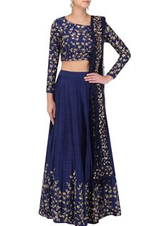 Shop blue color with pleasing embroidery & resham work designer lehenga choli online.This set is features a blue blouse in silk fully embellished with booty, resham and sequin work.It has matching blue lehenga in silk with beautiful embroidery all ove Lehenga Choli Latest, Lehenga Choli Online, Indian Lehenga, Sarees, Lehenga Skirt, Lehenga Blouse, Silk Lehenga, Patiala Salwar, Anarkali