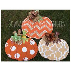 Pumpkin door hanger fall wreath fall door by BowsandBellsHangers, $38.99