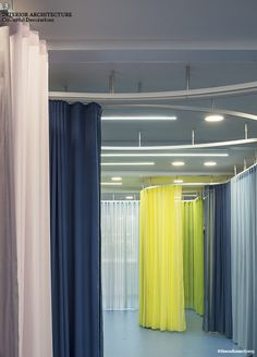 aberrant architecture reconfigures london school with sculptural rails and colored curtains Purple Curtains, Boho Curtains, Burlap Curtains, Floral Curtains, Cafe Curtains, Colorful Curtains, White Curtains, Window Curtains, Patterned Curtains