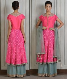 Manish Malhotra. Pink embroidered kurta with gray sequins embroidered hemline. Embellished split neckline and sheer cap sleeves. The set also includes gray georgette palazzo pants and gray net dupatta with embellished border and pearl tassels.