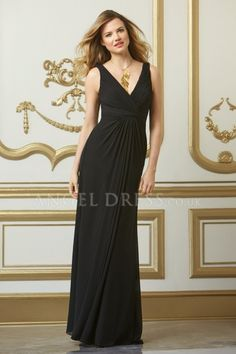 V Neck With Ruching Chiffon Sheath/ Column Floor Length Low Back Bridesmaids