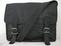 Mens Leather Messenger bag Black Leather by creativeleather, $95.00