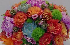 Any Vase --Beautiful large arrangement 50Th Birthday gift freedom roses peonies succulents dianthus