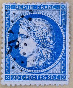 vintage french postage stamps | vintage french stamp France 20c Ceres blue postes timbres 20c postage ...