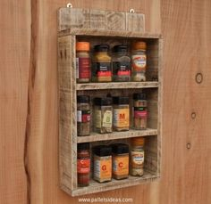 Rustic Spice Shelf / Kitchen Spice Rack / Cabinet Made From Reclaimed Wood / Pallet Wood Storage