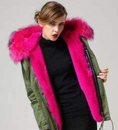 Faux Fur Collar Parka with fleece lining. Parka available in short and long length with DHL Shipping included in price. Approximate size guide in inches: S: Sho