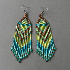 Long ethnic style seed bead earrings  green / by Anabel27shop,