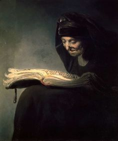 Rembrandt , (or circle of Rembrandt) , An Old Woman Reading