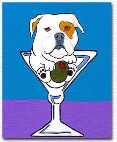 american bulldog art, dog art, martini art