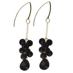 Rubon Handmade Gold-filled Jet Cluster Drop Earrings