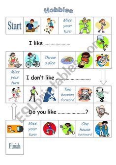 An easy board game to revise hobbies, likes and dislikes. Vocabulary Worksheets, Your Turn, Esl, You And I, Board Games, Distance, Hobbies, Boards, Learning