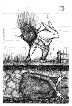 Jon Carling - The Krampus Hunter. The sketchy almost messy pen/pencil lines and shading give it texture and tone to provide a bit of depth. Black and white complement each other and create a balance. Has an otherworldly vibe.