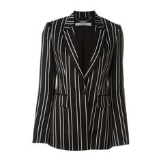 GIVENCHY Pinstripe Blazer (6.710 BRL) ❤ liked on Polyvore featuring outerwear, jackets, blazers, black, long sleeve jacket, givenchy jacket, pinstripe blazer, long sleeve blazer and blazer jacket