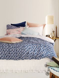 Shannon Fricke Bed Linens - I love the navy and pink together! via @decor8