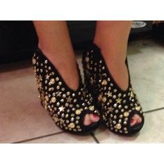 """Black faux sued peep toe wedge heels w/gold studs The heel is 5"""" and the platform is about 1-3/4"""". They are pretty roomy inside.Wore only one time,dressed up as snooki for halloween. Very cute, got lots of compliments on them. :-) . Shoes Heels"""