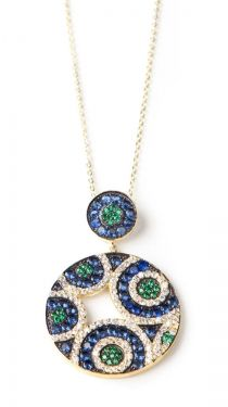 Peacock colored Double Disc Pendant