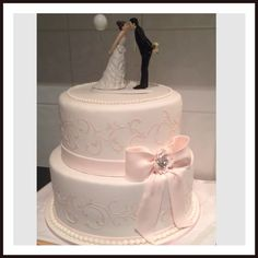 Fondant Pale Pink & White Stencilled, Bow, Pearls, Wedding Cake
