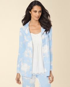 Soma Intimates Embraceable Long Sleeve Notch Collar Pajama Top Clouds Sky Blue #somaintimates  #my soma wishlist sweeps