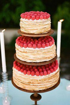 30 Wedding Cake Alternatives To Save Cash ❤ wedding cake alternatives crepe cake three tiered with strawberries trendy bride wedding magazine via instagram ❤ See more: http://www.weddingforward.com/wedding-cake-alternatives/ #wedding #bride